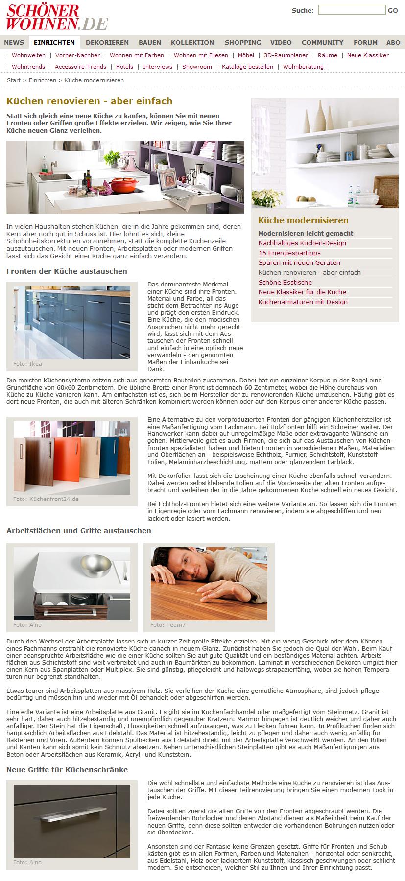 sch ner wohnen 08 2010 k chenfront 24. Black Bedroom Furniture Sets. Home Design Ideas